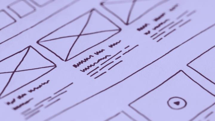 Sketch o boceto de una interfaz, diseño de apps o diseño UX/UI
