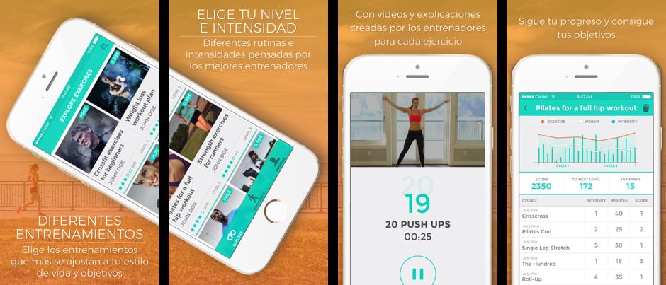 Planteamiento de una app para entrenar, Diseño iOS, Diseño Android, Diseño UX, Diseño UI, diseño de apps para móviles, diseño pantallas App Store