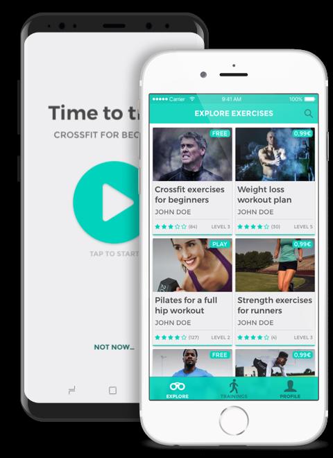 Planteamiento de una app para entrenar, Diseño iOS, Diseño Android, Diseño UX, Diseño UI, diseño de apps para móviles, diseño