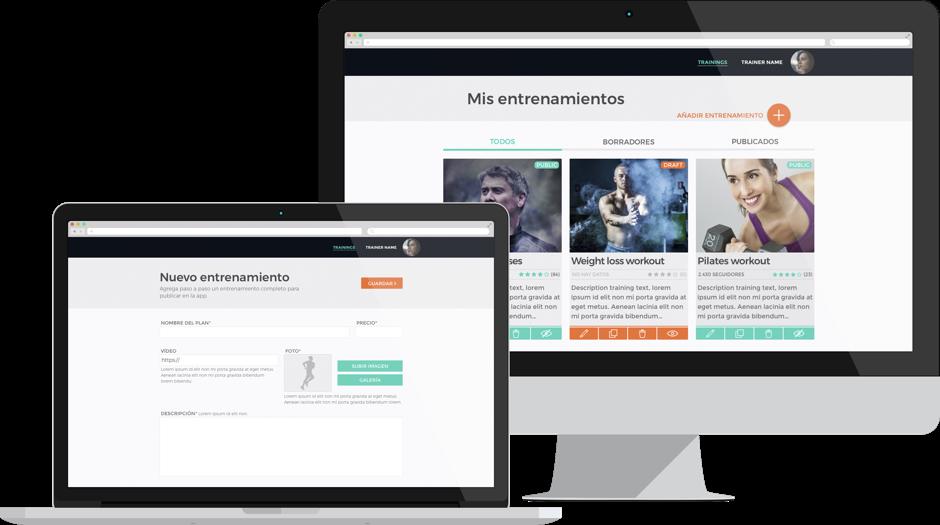 Planteamiento de una app para entrenar, Diseño iOS, Diseño Android, Diseño UX, Diseño UI, diseño de apps para móviles, diseño web responsive, dashboard responsive design