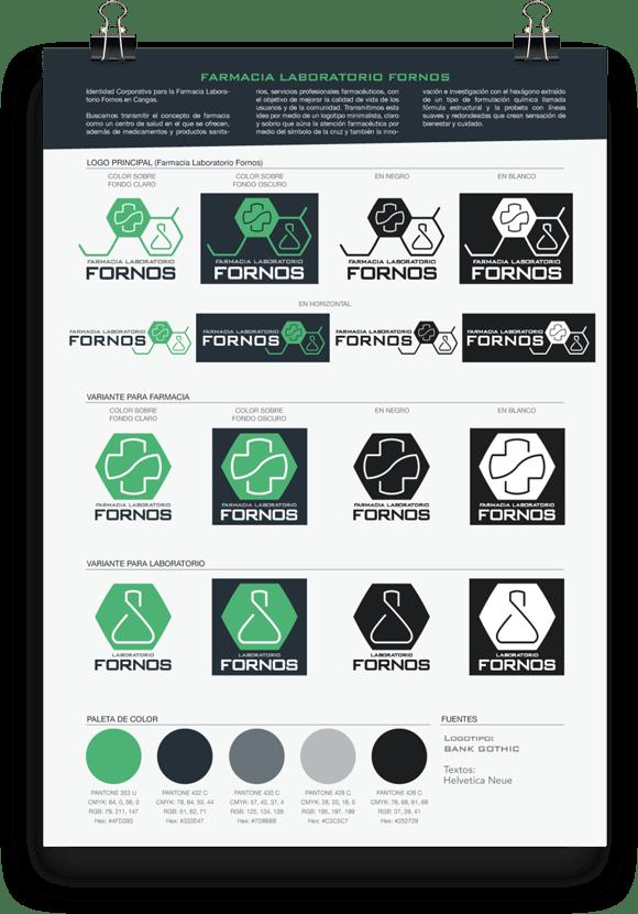 Identidad Corporativa, diseño gráfico, diseño de logotipo, diseño de identidad corporativa, diseño de logo para farmacia, Farmacia Fornos, Illustrator, Photoshop